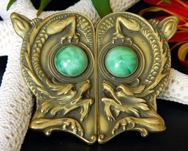 Vintage Chinese Dragon Pair Brass Peking Glass Two Piece Buckle Clasp - $124.95