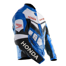 MEN HONDA VFR WING RACING MOTORCYCLE JACKET LEATHER BLUE AND WHITE  BLACK  - $142.49+