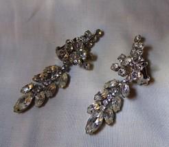 "Vintage 1960s Clip EARRINGS Elaborate 3"" Long Dangle 58 Rhinestones Fine... - $125.00"