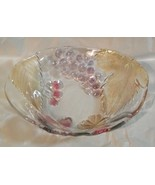 SOGA CLEAR GLASS BOWL W/ GRAPES-STRAWBERRIES CHERRIES AND FLOWERS LEAVES - $11.87
