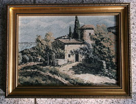 WOVEN EMBROIDERY SILK ART WORK FRAMED OF VILLA & LANDSCAPE COUNTRYSIDE S... - $59.00