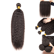 Brazilian Kinky Straight Hair Extension Non Remy Weave 100g Bundle Natur... - $27.54+