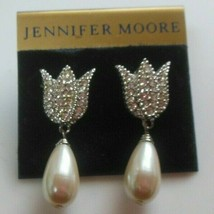 Jennifer Moore Paved Rhinestone Tulip Faux Pearl Pierced Earrings - $26.72