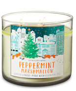 Bath & Body Works Peppermint Marshmallow Three Wick 14.5 Ounces Scented ... - $22.75
