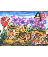 Fairies tiger cubs flowers original art print fantasy beasts colored pen... - $7.99