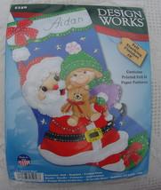 Design Works Santa Hugs / Little Girl / Holiday Christmas Felt Stocking kit 5258 - $21.99
