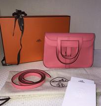 New Hermes Rose Azalea Mini Halzan Clutch/Messenger/Shoulder Full Set/Receipt - $4,599.99
