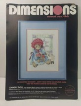 """1987 Dimensions No Count Cross Stitch Kit """"Country Doll""""  #3633 13"""" x 16"""" OPENED - $11.88"""