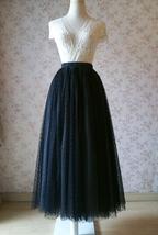 Adult Long Tulle Skirt, Black Gray Polka-dots Tulle Skirt, Evening long skirts image 4