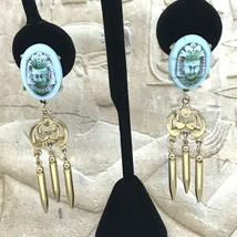 Vintage Pharaoh Face Dangle Drop Earrings Screw Back - $17.76
