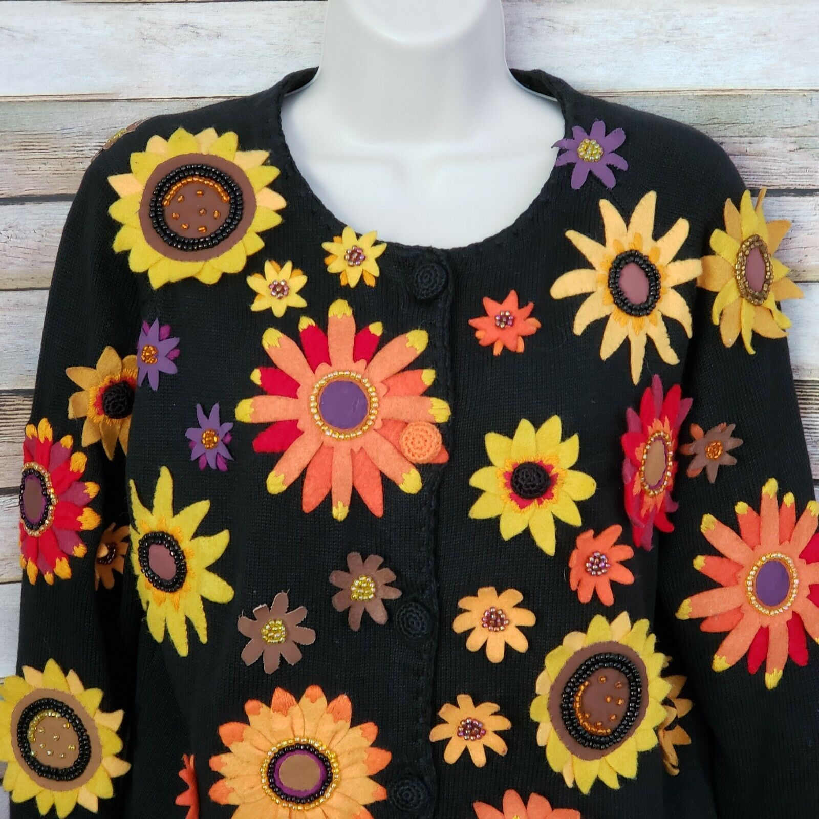 Primary image for Michael Simon Embroidered Sweater Cardigan Med Felt Fabric Flowers Fall Colors