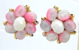 HONG KONG Gold Tone Pink Purple Acrylic Bead Clip Earrings Vintage - $13.86
