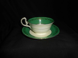 Aynsley Teacup and Saucer Green Gold Open Roses Vintage Floral Tea Cup & Saucer image 2