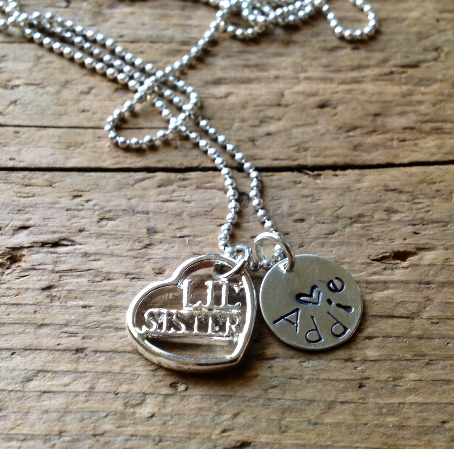 Big Sister Little Sister Necklace Jewelry New Baby Charm