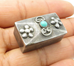 MEXICO 925 Sterling Silver - Vintage Turquoise Petite Jewelry Box (OPENS... - $29.27