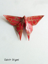 Red and golden Butterfly Origami brooch / in folded Japanese paper  - $13.00