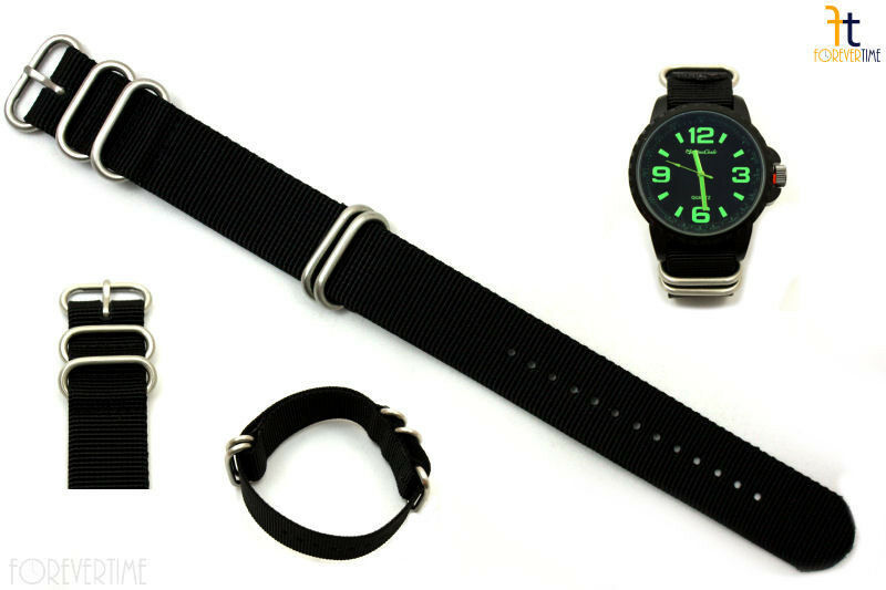22mm Fits Luminox Nylon Woven Black Watch Band Strap 4 Stainless Steel Rings