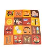 GUCCI Scarf Orange Brown Silk 85 cm Floral Sun Shawl Stole RAKU8 - $147.51