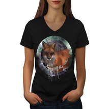 Fox Nature Wild Animal Shirt Cosmic Fox Women V-Neck T-shirt - $12.99+