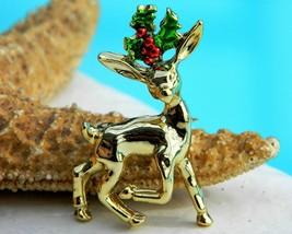 Vintage Christmas Reindeer Brooch Pin Holly Berries Enamel Gold Gerrys - $12.95