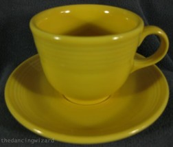 Fiesta Sunflower Flat Coffee Cup and Saucer Homer Laughlin China Lead Free  - $14.95