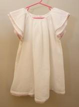 Ralph Lauren Girls 18 M White Flutter Sleeve Dress Beach Summer Pink Tri... - $29.67