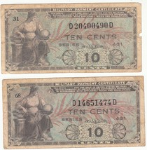 Lot of (2) MILITARY PAYMENT CERTIFICATES Series 481 - Ten Cents (1951 - ... - $14.99