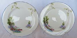 """2 Vintage AYNSLEY dinner plate Forest England Bone China Porcelain 8"""" - $25.00"""