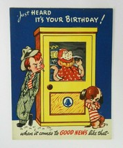 Vintage 1948 Novo Laugh Birthday Greeting Card Telephone Booth Die Cut U... - $12.86