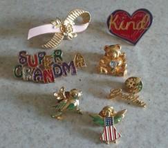Pin Lot-Super Grandma Brooch Pin, Angel Flag, #1 Grandma,Kind,Bear,Bird,Ribbon - $12.99