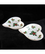 Lefton 2280 heart shape Holly Christmas holiday pin nut trinket dishes l... - $18.89