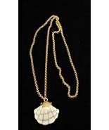 Vintage Trifari Signed Gold Tone Cream Enamel Shell Necklace  - $18.10