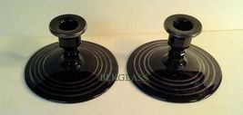 Black Glass Candlesticks by  L.E. Smith, 1930s Wide Base For Stability - $24.99