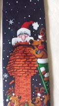 "Men's Necktie Hallmark Yule Tie Greetings Santa Stuck Chimney Reindeer 58"" x 3"" - $17.62"