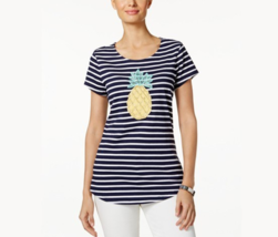 Charter Club Striped Pineapple Embroidered Top in Intrepid Blue Combo, s... - $23.75
