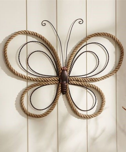 "26"" Iron Butterfly Wall Plaque with Brown Hemp Rope Design Wing Accents"
