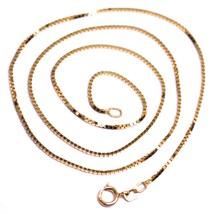 """SOLID 18K ROSE GOLD CHAIN 1.1 MM VENETIAN SQUARE BOX 15.75"""", 40 cm, ITALY MADE image 1"""