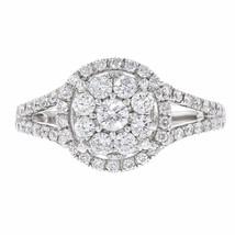 0.88ct Pave Diamond 14k White Gold Round Ring Size 7 - £942.63 GBP