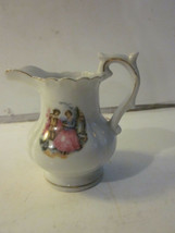 VINTAGE HAND PAINTED BETSON PORCELAIN MILK PITCHER VICTORIAN COURTING SCENE - $9.99