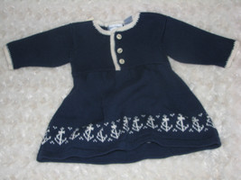 RALPH LAUREN BABY GIRL KNIT SWEATER DRESS NAUTICAL ANCHOR NAVY BLUE 0-3 NWT - $39.59