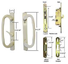 Patio Door Handle Kit Mortise Lock w/ Faceplate Keepers B-Position Beige... - $59.35