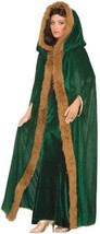 Fantasy Faux Fur Womens Medieval Trimmed Cape Green One Size Polyester H... - $53.41