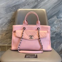 100% AUTH CHANEL RARE PINK 2-WAY HANDLE BAG DETACHABLE POUCH