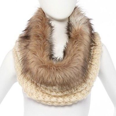 Faux Fur Trimmed Cowl -Knit Scarf New Without Tag