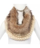 Faux Fur Trimmed Cowl -Knit Scarf New Without Tag - £13.19 GBP