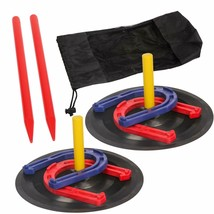 Horse Shoe Game Safety Rubber Horseshoe Set Durable Light Weight Outdoor... - $18.39