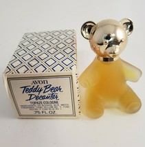 "Avon Teddy Bear Decanter Topaze Cologne .75 oz 3"" Tall Silver Head Frost... - $11.64"