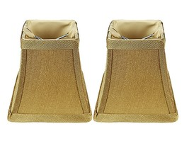 Urbanest Set of 2 Square 4-inch Softback Bell Chandelier Lamp Shade, Gold, Faux  - $15.35