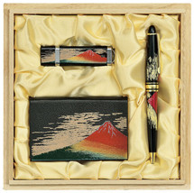 Maki-e Urushi Japanese Stationary set Fuji motif Pen Card Case USB Drive... - $201.61