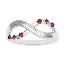 Sterling Silver Round Bezel Set Garnet Infinity Ring Girls Engagement  B... - £13.94 GBP